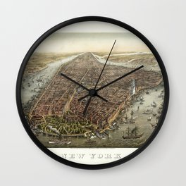 Vintage Print - View of New York City, 1873 Wall Clock