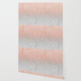 Modern trendy rose gold glitter ombre silver glitter Wallpaper