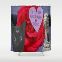three of the possessed Shower Curtains featuring THREE by Aldo Couture