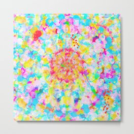 Colorful and Trippy Abstract Rainbow Mandala Painting with Oil Splatters Metal Print