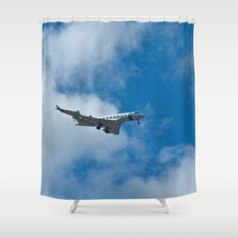Airplane Flying Clouds Sky  Shower Curtain