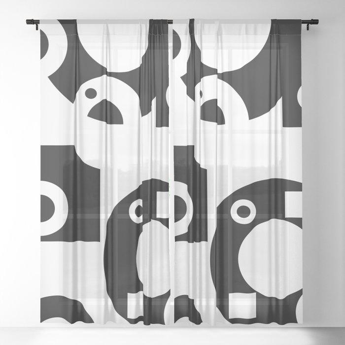 Black& White Rings Rectangle Sheer Curtain