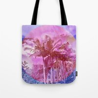 palm trees Tote Bags featuring Palm trees by Lara Gurney