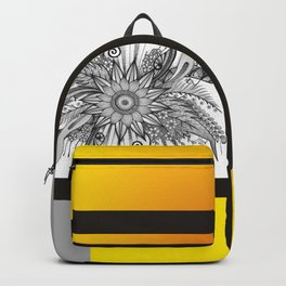 Sunflower Doodle on bright bold background Backpack