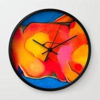 nudes Wall Clocks featuring Nudes: Atlas II by Adam James David Anderson