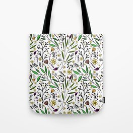 stylish pattern of herbs, flowers and leaves Tote Bag