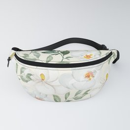 Magnolia and Orchid Blossoms Watercolor Fanny Pack