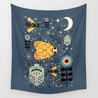 bugs Wall Tapestries featuring Midnight Bugs  by Carly Watts