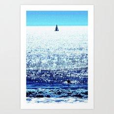 Sailboat and Swimmer Art Print
