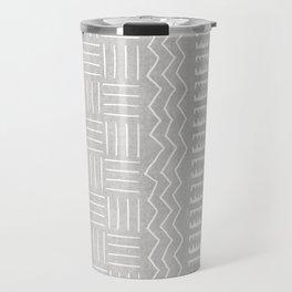 Funky African Mud Cloth in Grey Travel Mug
