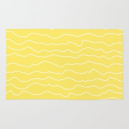 Yellow with White Squiggly Lines Rug