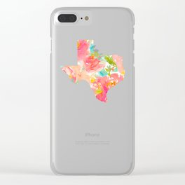 Texas Floral map state map print Clear iPhone Case