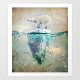 Polar Bear Adrift Art Print
