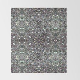 Sparkly colourful silver mosaic mandala Throw Blanket