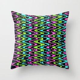 Wavy Neon Throw Pillow