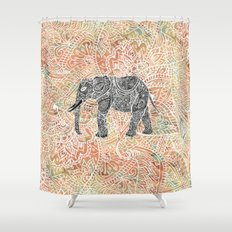 Tribal Paisley Elephant Colorful Henna Floral Pattern Shower Curtain