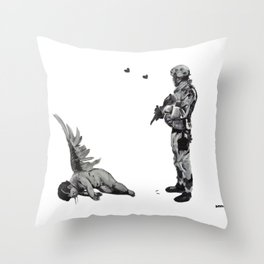 Banksy Soldier With Fallen Angel Artwork Reproduction for Prints Posters Tshirts Men Women Kids Throw Pillow
