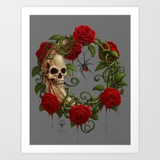 Skeleton Moon Art Print
