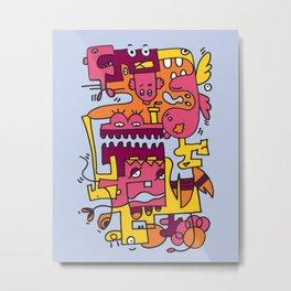 Light Blue Doodle Monster World Metal Print