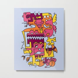 Light Blue Doodle Monster World by Pablo Rodriguez (Pabzoide) Metal Print