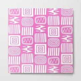 Retro Mid Century Modern Check Pattern 356 Pink Metal Print