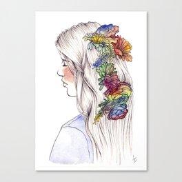 Fleurs d'aquarelle Canvas Print