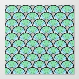 Green Pastel Art Deco Fan Pattern Canvas Print