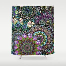 Colorful Floral Mandala Pattern with Geometric Drawings Shower Curtain