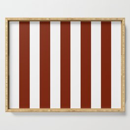 Kenyan copper red - solid color - white vertical lines pattern Serving Tray