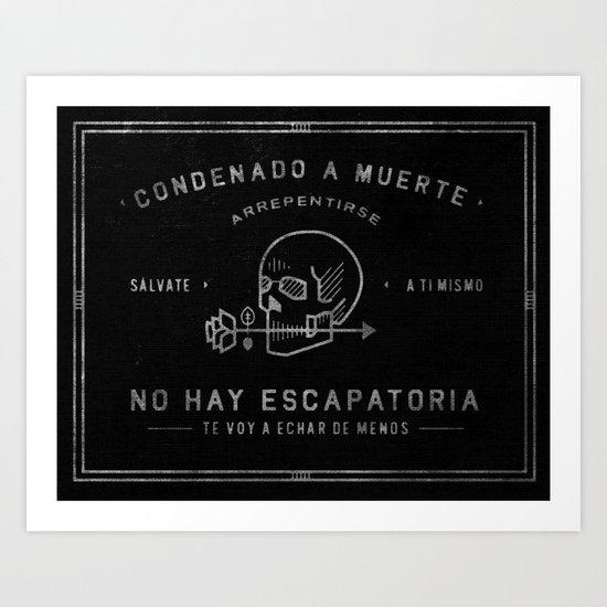 Condenado A Muerte - Black Art Print