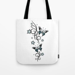 Tattoo tendril with stars and butterflies Tote Bag