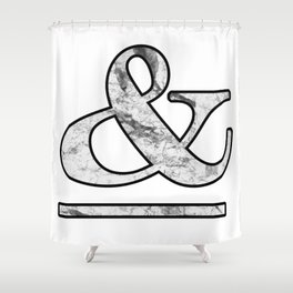 Dramatic white marble ampersand Shower Curtain