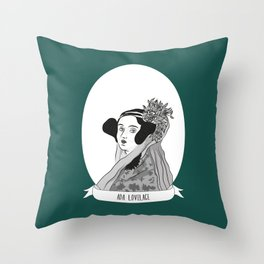 Ada Lovelace Illustrated Portrait Throw Pillow