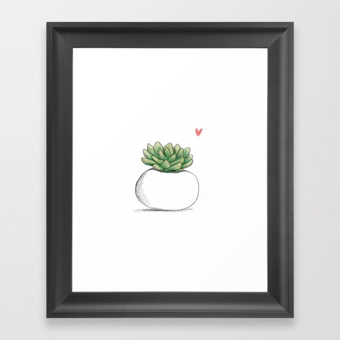Succulent in Plump White Planter Gerahmter Kunstdruck