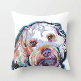 COCKAPOO Fun Dog Portrait bright colorful Pop Art Painting by LEA Throw Pillow