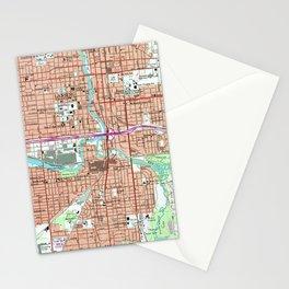 Vintage Map of Lansing Michigan (1965) Stationery Cards