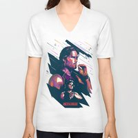 metal gear V-neck T-shirts featuring ESCAPE FROM METAL GEAR by mergedvisible