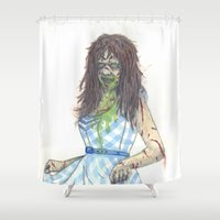 three of the possessed Shower Curtains featuring Regan (Possessed) by Monsters in Plaid
