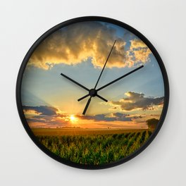 Iowa Corn Fields Wall Clock