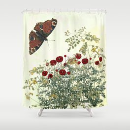Shaking the wainscot where the field mouse trots Shower Curtain