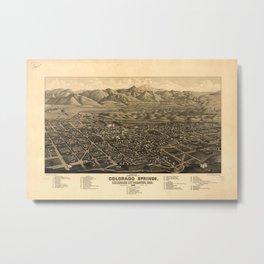 Vintage Pictorial Map of Colorado Springs (1882) Metal Print