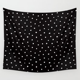 Minimal- Small white polka dots on black - Mix & Match with Simplicty of life Wall Tapestry