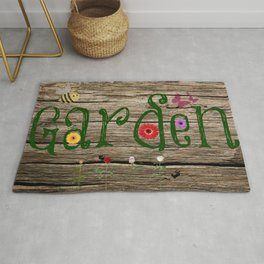 Whimsical Garden Sign Wood Background Rug