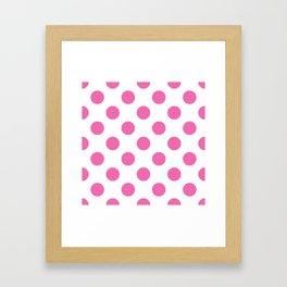 Geometric Candy Dot Circles - Strawberry Pink on White Framed Art Print