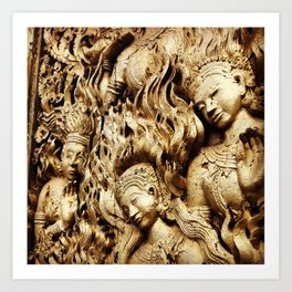 Temple Close-Up (Luang Prabang ) Art Print