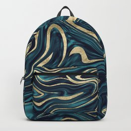 Teal Navy Blue Gold Marble #1 #decor #art #society6 Backpack