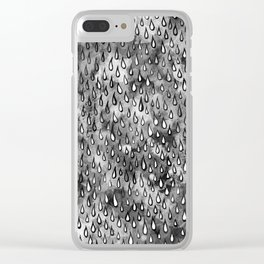 Grey Raindrops Clear iPhone Case