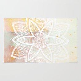 wholeness white mandala on pink Rug