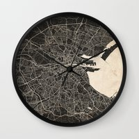 dublin Wall Clocks featuring dublin map by NJ-Illustrations