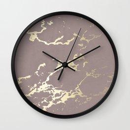 Kintsugi Ceramic Gold on Red Earth Wall Clock